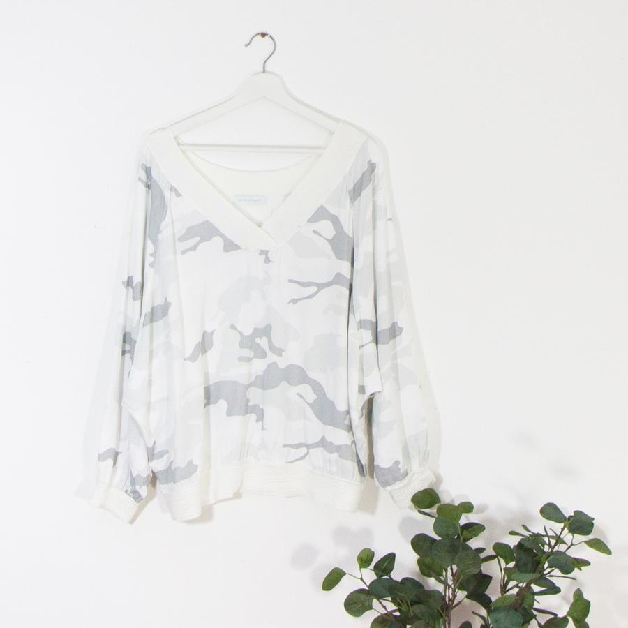 Slouchy V Neck Camo Top With Silver Detail