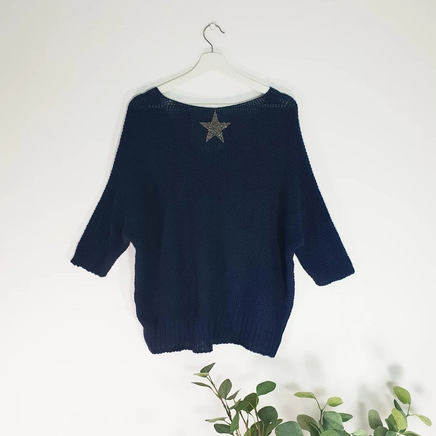 Navy crochet batwing jumper with crystal star on back