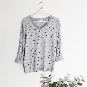Fine Knit Glitter Edge Star Top - Grey