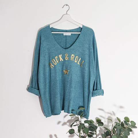 Rock & Roll Top - Teal/Gold