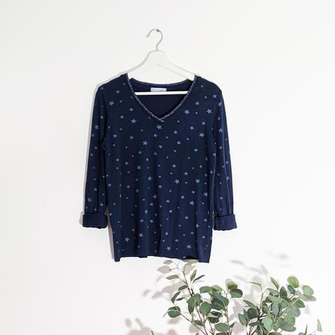 Fine Knit Glitter Edge Star Top - Navy