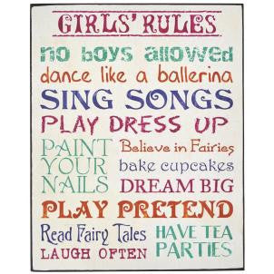 Wall sign with various girls rules written in pink green red and blue