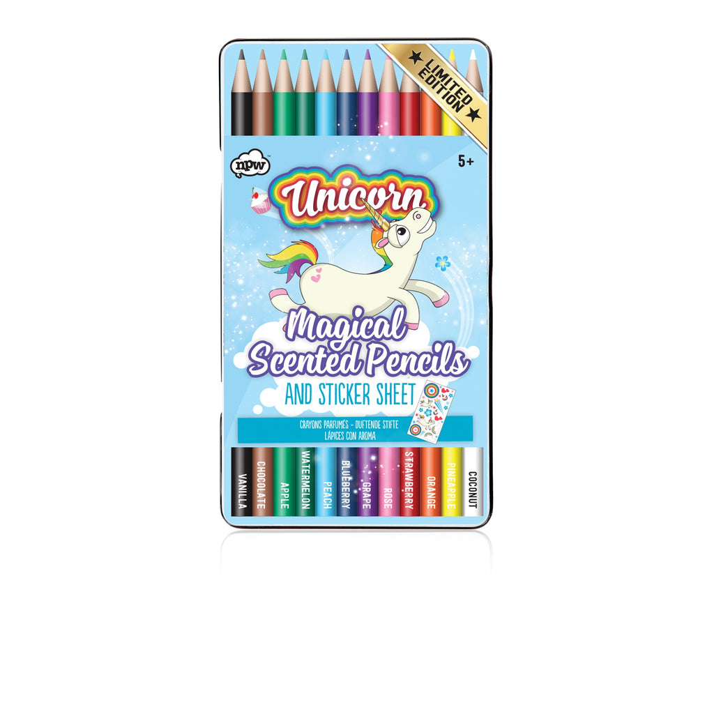 Tin of scented pencils with stickers and with unicorn on tin