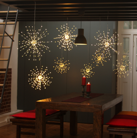 Hanging Star Fairy Lights, Battery Operated, Timer Function, 50cm