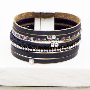 Multi strand navy leather bracelet with crystals coloured beads and magnetic clasp