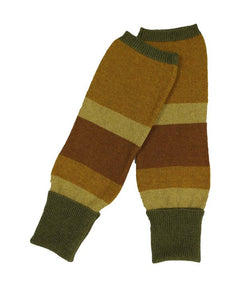 Cashmere blend wrist warmers with olive and brown stripes