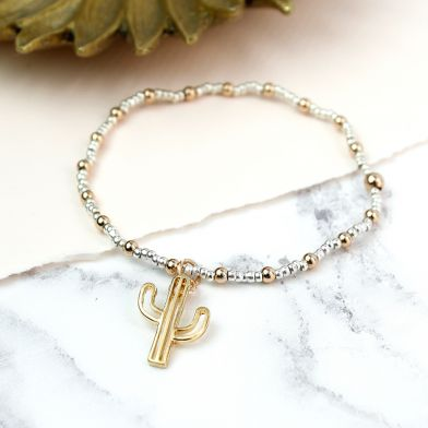Silver And Gold Plated Cactus Bracelet