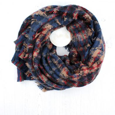 Winter blanket scarf with blue red and cream check design