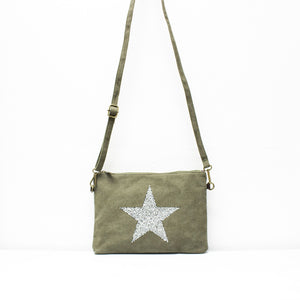 Star Canvas Clutch With Detachable Strap - BACK IN STOCK