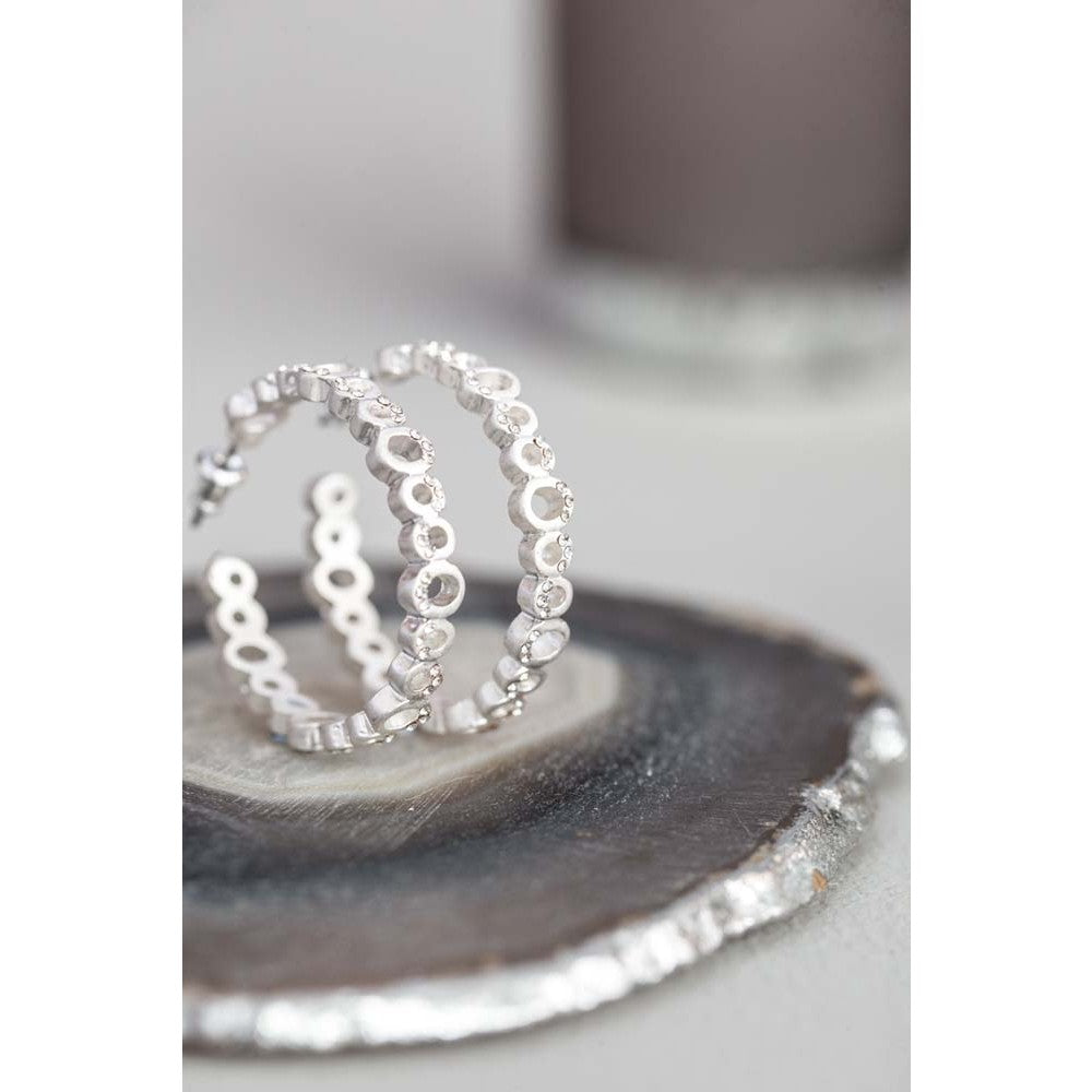 Silver hoop earrings with crystals