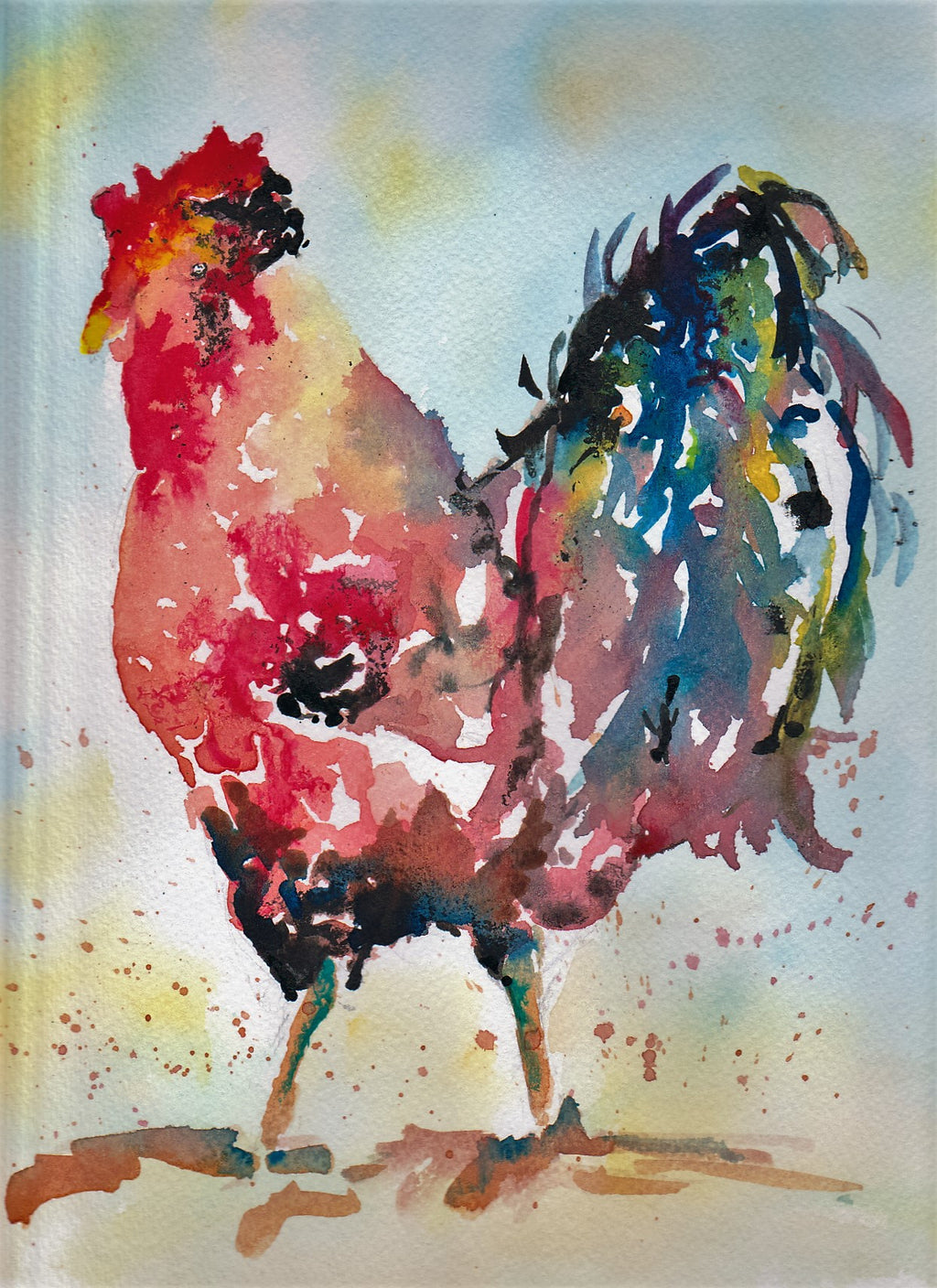 Watercolour multicolour cockerel art print