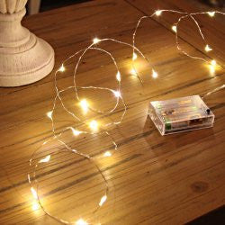 Micro Fairy Lights On Silver Wire, Battery Operated