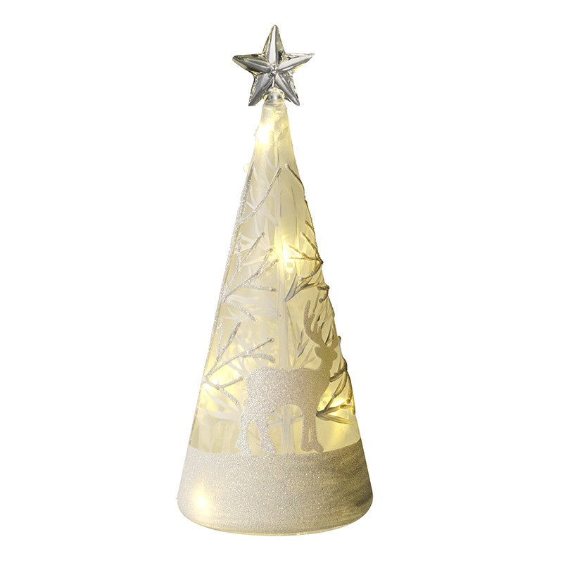 Cone shaped glass LED lit tree decoration with star on top and stag and twigs glitter decoration