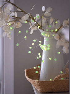 Mint Teardrop Fairy Lights, Battery Operated, Timer Function