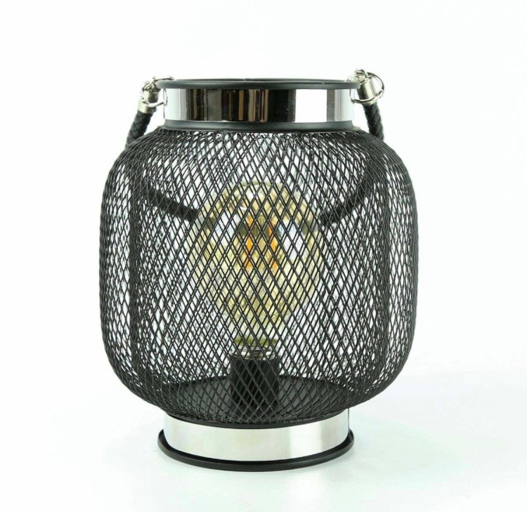 Wire Mesh Lantern With Filament Effect LED Bulb