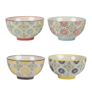 Snack bowls with multicolour designs