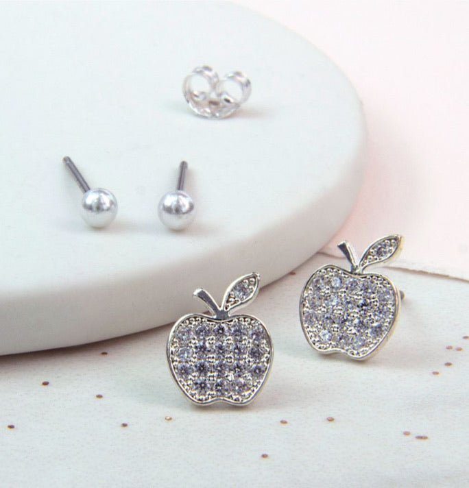 Apple studs with crystals inset and grey pearl stud earring set