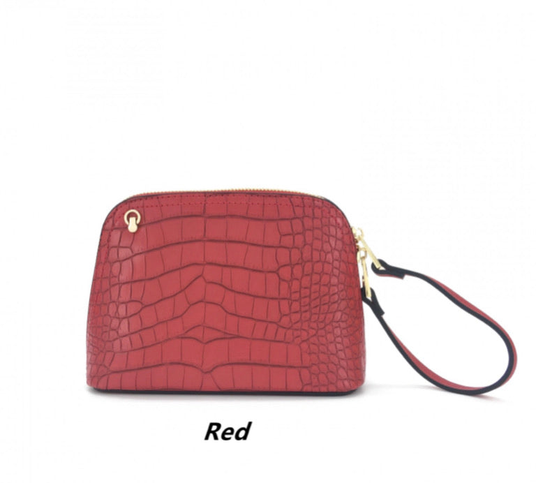 Red croc print small bag with wristlet and shoulder strap