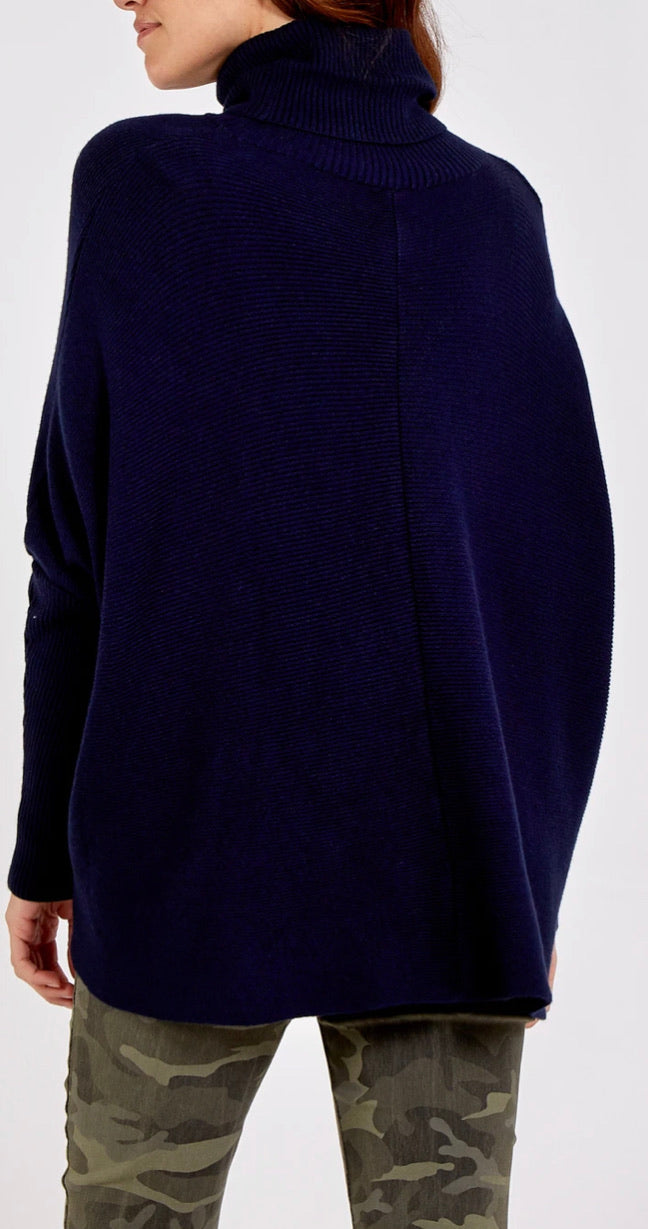 Roll Neck Jumper - Navy
