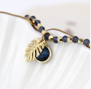 Palm Leaf Bracelet With Crystal