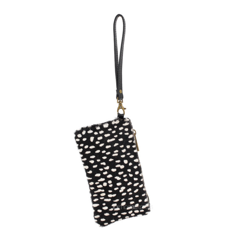 Black and white cheetah print leather wristlet