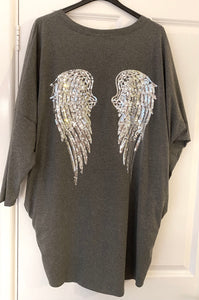 Grey long oversized top with sequin angel wings on back