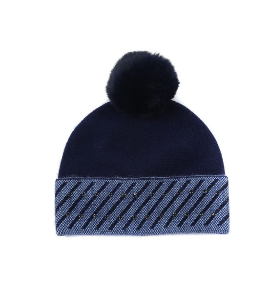 Navy Sparkly Hat With Faux Fur Pom Pom