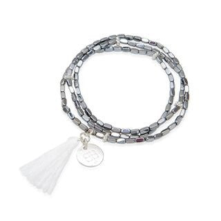 Dove White Gold Beaded Tassel Bracelet