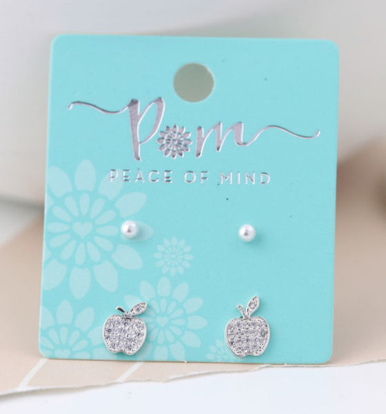 Crystal Apple And Pearl Stud Earring Set
