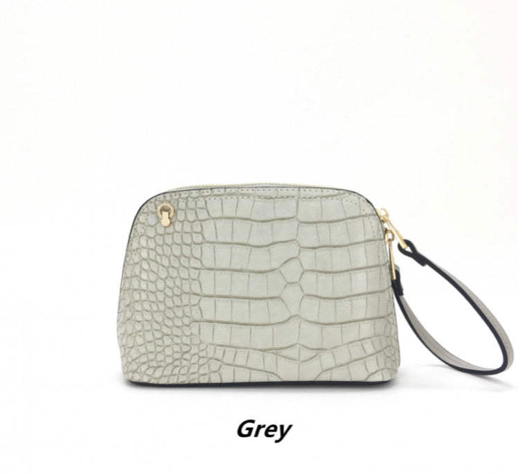 Light grey small croc print bag with wristlet and shoulder strap