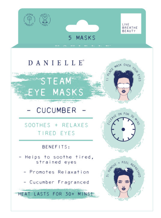 Packaging with five cucumber steam eye masks inside