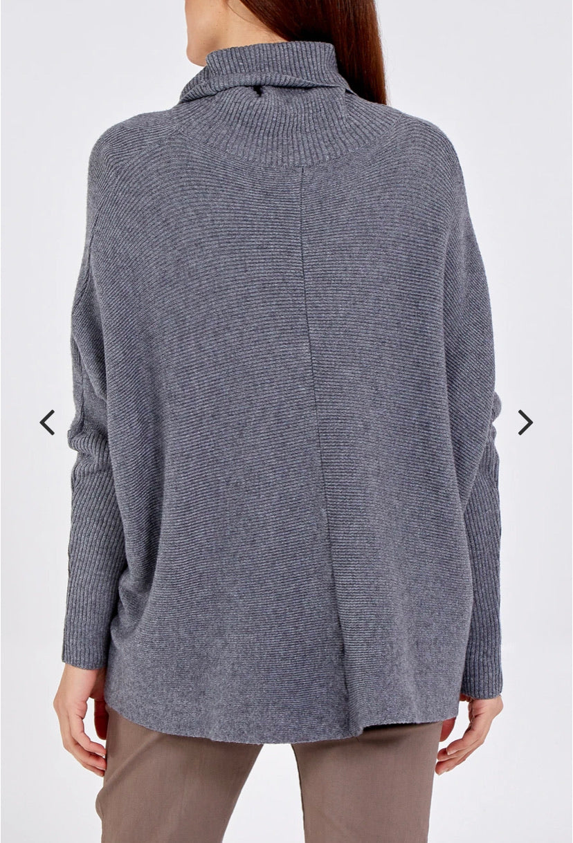 Roll Neck Jumper - Dark Grey - Image Coming Soon