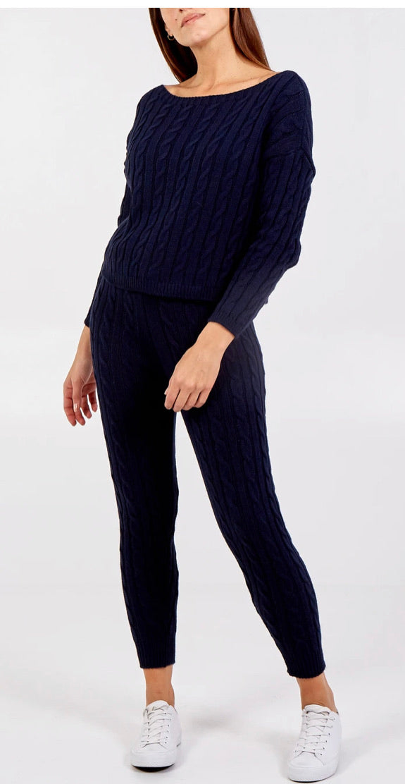 Cable Knit Two Piece Lounge Set