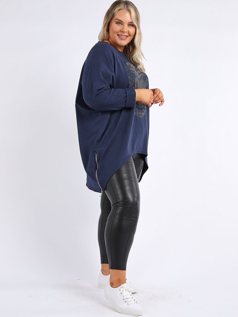 Plus Size Diamante Skull Top - Navy