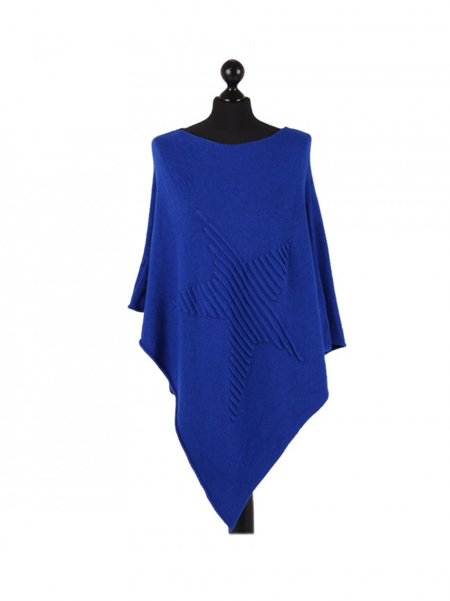 Royal blue poncho with raised ribbed star on front
