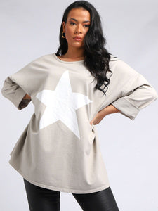 Star Print Plus Size Top - Beige
