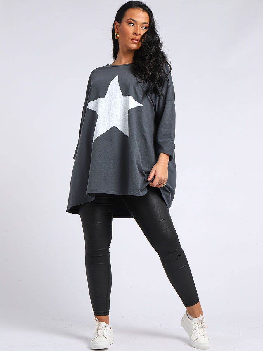 Star Print Plus Size Top - Charcoal - Back In Stock