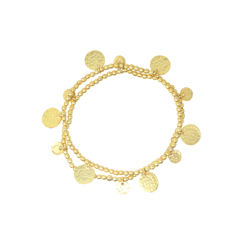 22 Carat Gold Plated Coin Bracelets Set Of Two