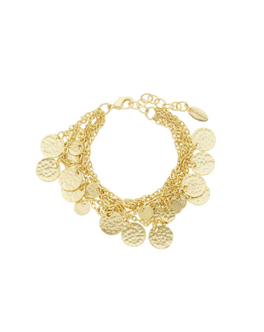 22 Carat Gold Plated Multi Row Coin Bracelets