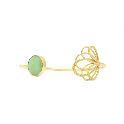 22 Carat Gold Plated Flower and Gemstone Bangle