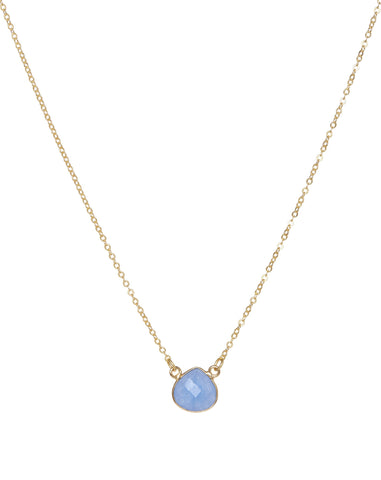 22 Carat Gold Plated Blue Jade Teardrop Necklace