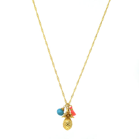 23 Carat Gold Plated Pineapple Necklace