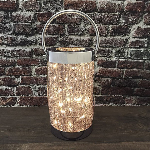 Tall Wire Mesh Loom Lamp With LED Lights
