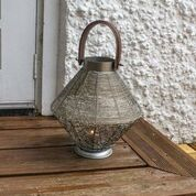 Wire Mesh Candle Lantern With Leather Effect Handle