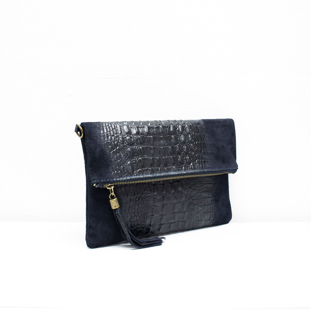 Navy suede and leather croc print foldover bag with navy tassel