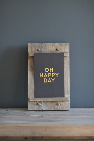 "Medium ""Oh Happy Day"" Print, Grey and Gold"