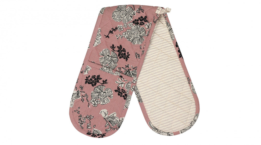 A light pink oven glove with rose design in black and white and pink stripe reverse side