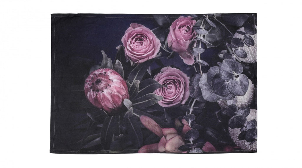 Cotton tea towel in navy with pink proteas and roses