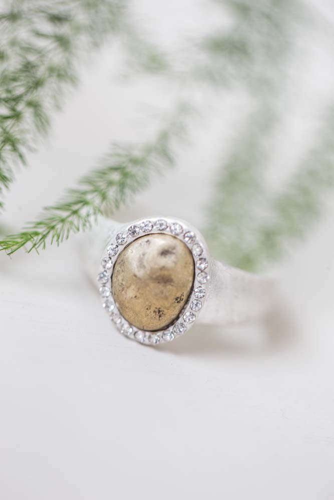 Disc And Crystal Ring