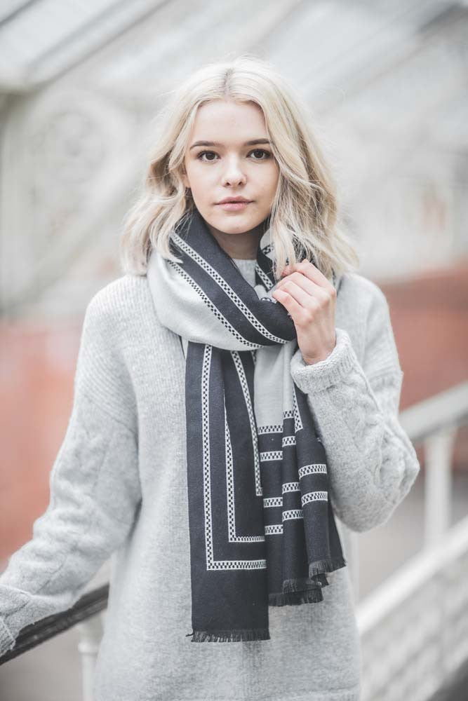 black and white selvedge edge winter scarf